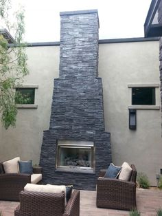 Stucco fireplace with flagstone accents fireplaces and firepits diy fireplace plans want to build a fireplace like this visit backyardflare solutioingenieria Image collections