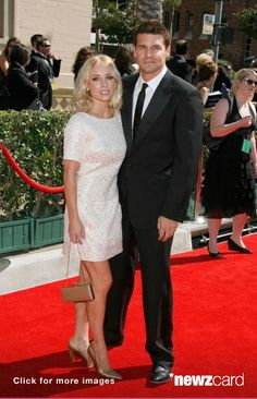 Actor David Boreanaz and wife Jaime Bergman arrive at the 59th Annual Primetime Creative Arts Emmy Awards at the Shrine Auditorium on September 8, 2007 in Los Angeles, California. (Photo by Jeffrey Mayer/WireImage)