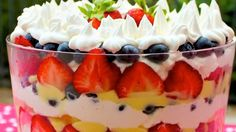 It only takes 30 minutes to create this beautiful and delicious arrangement of fresh berries, butter loaf cake and whipped topping.
