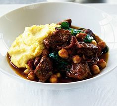 Lamb, chickpea & spinach curry with masala mash recipe - Recipes - BBC Good Food Lamb Recipes, Spicy Recipes, Curry Recipes, Slow Cooker Recipes, Cooking Recipes, Healthy Recipes, Healthy Meals, Chicken Recipes, Bbc Good Food Recipes