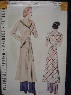 1930s Ladies Lounging Coat House Coat Unused FF by kinseysue, $78.00
