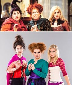 Grab your main witches and turn the Sanderson sisters into the most epic girl Hocus Pocus group costume! Hocus Pocus Halloween Costumes, Witch Costumes, Diy Costumes, Costume Ideas, Faerie Costume, Villain Costumes, Zombie Costumes, Creative Costumes, Homemade Costumes