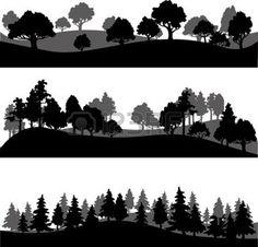 arbustos dibujo: conjunto de diferentes siluetas de paisaje con árboles, ilustración vectorial