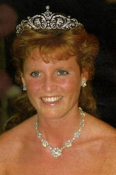 The diamond diadem worn by Sarah, Duchess of York on her wedding day and after was given to her by Queen Elizabeth II and was commissioned/chosen by Sarah and crafted by Garrard's in London. Sarah Duchess Of York, Duke And Duchess, Sarah Ferguson Wedding, Will Ferrell Wedding Crashers, Windsor, Prinz Philip, Royal Tiaras, Royal Crowns, Eugenie Of York