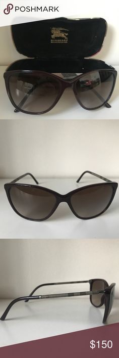 Burgundy cat eye Burberry Sunglasses Classic semi cat eye sunglasses by Burberry. The color is a dark purple burgundy with the sides being their classic plaid print in grey. Perfect condition only wore for one season. The case is included and is hard and very sturdy. Burberry Accessories Glasses