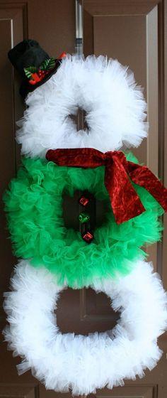 Christmas Wreath, Snowman Wreath, Tulle Wreath, Ribbon Wreath, Winter Wreath, Christmas Decor, Snowman Decor, Large Wreath, Jingle Bells