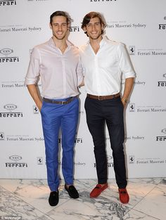 Male models, Jordan and Zac Stenmark stylish in matching outfits as they mingled with fashion industry elite at TODs for Ferrari Spring Summer launch April 2016