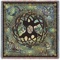 """Celtic Tree of Life Tapestry Throw"" You can feel the rich Celtic tradition in the gorgeous woven tapestry blanket. Centered on the blanket encased in flowing knots is Celtic rendition of the tree of"