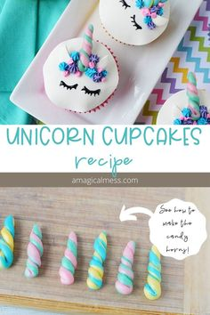Get creative in the kitchen by decorating these unicorn cupcakes. With faces and candy horns these cupcakes are perfect for unicorn lovers. Using candy clay frosting and Starbursts you can make adorable unicorn cupcakes yourself. Kid Cupcakes, Rainbow Cupcakes, Unicorn Cupcakes, Themed Cupcakes, Birthday Cupcakes, Baking Cupcakes, Unicorn Cups, Unicorn Foods, Unicorn Face