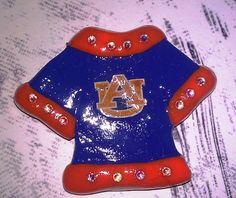 Polymer Clay T-Shirt Cabochon / Flat Backed - Blue and Orange details plus Swarovski Crystal Accents Auburn