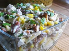 Italian salad with ham, cheese and vegetables Cookbook Recipes, Lunch Recipes, Seafood Recipes, Salad Recipes, Chicken Recipes, Cooking Recipes, Recipe Chicken, Good Food, Yummy Food