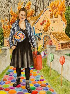 Checklist for Crediting Your Art >> ART BIZ BLOG.     Painting credit: ©Michael Joyal, Never Give Candy To Strangers. Watercolor and acrylic, 40 x 30 inches. Used with permission.