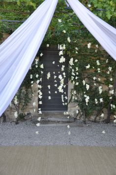Outdoor Wedding Ceremony - Fresh Orchids Hanging ropes - Provence Wedding