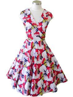 Greta Dress – Pink/Navy Outlines – Mavis and Bob