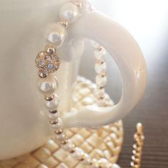 Perły, bransoletka blask cyrkonii i złota <3