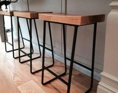 Items similar to Reclaimed wood & Iron pipe bar stools || rustic wood bar stools on Etsy