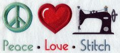 Peace Love Sew design (G7323) from www.Emblibrary.com