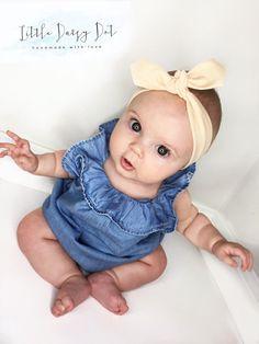 Floral Baby Headband - Baby Headband - Newborn Headband - Baby Shower Gift - Newborn Gift - Baby Girl Bow - Knotted Headband - Vintage Baby
