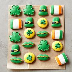 St Patrick's Day Cookies #williamssonoma hat, flag, shamrock,