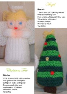Knitting Patterns Christmas Free Christmas knitting patterns – Santa, Angel, Snowman and Tree from Bobath Childrens Therapy Cent… Double Knitting Patterns, Christmas Knitting Patterns, Knit Patterns, Knitted Christmas Decorations, Christmas Crafts, Christmas Ideas, Xmas Ornaments, Christmas 2017, Christmas Wreaths