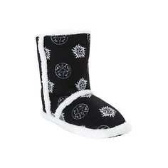 Supernatural Symbols Slipper Boots Hot Topic (215 SEK) ❤ liked on Polyvore featuring shoes and slippers