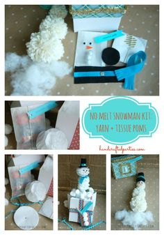 No melt snowman kit: yarn and tissue paper poms + accessories  {Handcrafted Parties} #snowman  #craft for kids  #packaging