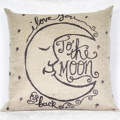 Vintage Moon Home Square Linen Throw Pillow Case #Affiliate
