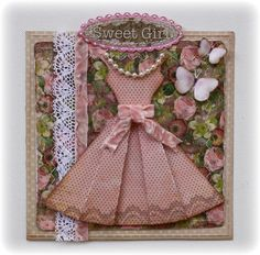 How to make paper folded dress - Such a Pretty Mess: A Fun Little Bo Bunny Card (Plus a Template)!How to make a Paper Dress Embellishment from Folded Paper - template and instructions included - this is SO cute, and can be used to decorate Shabby Chi Scrapbooking Photo, Scrapbook Cards, Cute Cards, Diy Cards, Decoupage, Karten Diy, Dress Card, Card Tags, Creative Cards