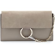 a3fb5a6d422267 Chloe Faye Leather & Suede Clutch Bag ($955) ❤ liked on Polyvore featuring  bags, handbags, clutches, light grey, real leather purses, leather purses,  flap ...