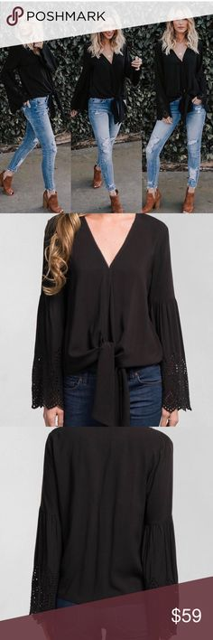 NEW! 🌸Tie-front Bell Sleeve Top Black Tie-front Bell Sleeve Top. Long sleeves have scalloped eyelet borders. 100% Rayon. 💕 Tops
