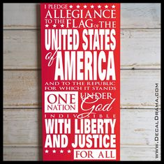 Us pledge of allegiance vinyl wall decal fourth of july deco Pledge To The Flag, Thing 1, Star Spangled Banner, Allegiant, Patriotic Decorations, Custom Vinyl, Founding Fathers, Vinyl Wall Decals