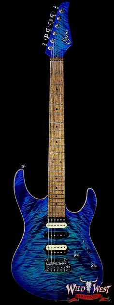 Suhr Modern Quilt Maple w/ Swamp Ash Body and 5A Roasted Birdeye Maple Neck Aqua Blue Burst - Wild West Guitars