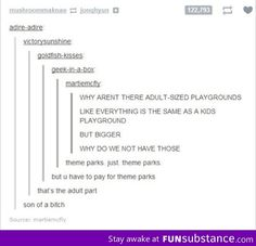Adult-sized playgrounds...sad, but true
