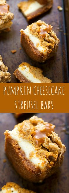 two layers of cheesecake on a delicious cinnamon graham cracker crust topped with an easy streusel.you'll want to keep this recipe handy! Pumpkin Caramel Cheesecake Bars with Streusel Topping - Fall and Winter Dessert Recipe Brownie Desserts, Oreo Dessert, Pumpkin Dessert, Dessert Bars, Dessert Food, Desserts Caramel, Dessert Tables, Easy Pumkin Desserts, Caramel Treats