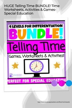 If you are a Special Education teacher and teach life skills/ functional math, you NEED this Telling Time MEGA-Bundle!!! 40+ Resources and 1,200+ pages/slides are included in this Telling Time Unit! Teaching students all about telling time has never been easier with this differentiated telling time bundle! Perfect for K-12 Special Education & elementary math! All of these telling time games, worksheets & activities are hands on, leveled and so much FUN for your students! Teaching Life Skills, Teaching Time, Teaching Activities, Student Teaching, Learning Resources, Toddler Activities, Activity Ideas, Activity Games, Telling Time Games