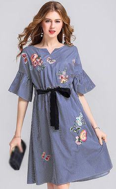 Fashion Embroidery Stripe Flare Sleeve Belted Skater Dress