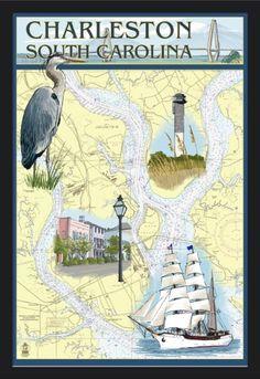 Charleston, South Carolina - Nautical Chart - Lantern Press Artwork (24x36 Giclee Art Print, Gallery Framed, Black Wood), Multi