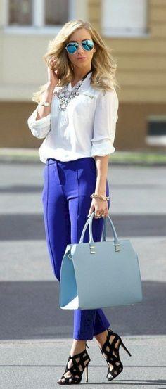 unboring-work-outfits-for-women-over Pantalones Vaqueros Blancos e94dc1e00