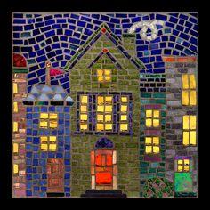 "https://flic.kr/p/71nftc   Night Village   Vitreous glass tile, mirror, millefiori, stained glass; 8"" x 8"", 2009"