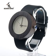 19.79$  Buy now - http://alinv9.shopchina.info/1/go.php?t=32782429842 - BOBO BIRD Ebony Wooden Watches for Women Silver Pointer With Normal Logo Wood Dial Leather Strap Quartz Watch SUPERIA OEM  #buymethat