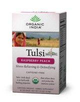 Tulsi Raspberry Peach Tea  Wonderful aroma; mild flavor.