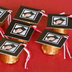 "What a cute idea for a graduation party! ""Mortarboard"" photos taped onto Rolos :) Great idea for a favor..."