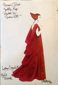 Costume Renderings Page 7 - Broadway Design Exchange Theatre Costumes, Cool Costumes, Amazing Costumes, Period Costumes, Greek Costumes, Lady Capulet, Costume Design Sketch, Simply Red, Illustration Techniques