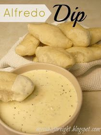Olive Garden Alfredo dipping sauce. I have a knock off garlic breadstick recipe, so I am trying this tonight.