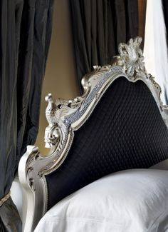 And So To Bed's Grand Versailles in black with Swarovski Crystals. More on the Versailles > http://www.andsotobed.co.uk/versailles-leafed-bed.html