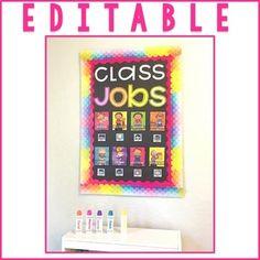 Class Jobs Bulletin Board Classroom Jobs, Classroom Decor, Kindergarten Activities, Classroom Activities, Student Name Tags, Class Jobs, Bright Decor, Phonics Games, Sight Word Games