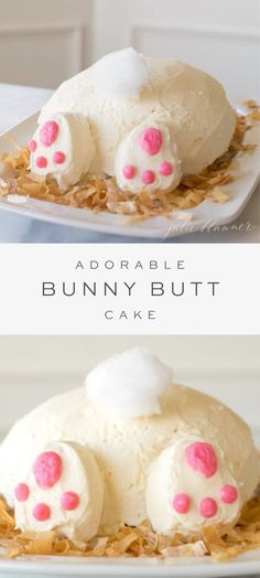An easy and adorable Bunny Butt Cake a memorable Easter cake that also makes a beautiful baby shower cake or birthday cake! Get step-by-step instructions to make this Easter bunny cake that will have everyone talking! Easter Bunny Cake, Easter Cupcakes, Easter Cookies, Easter Treats, Bunny Cakes, Bunny Birthday Cake, Easter Food, Easter Party, Cakes For Easter