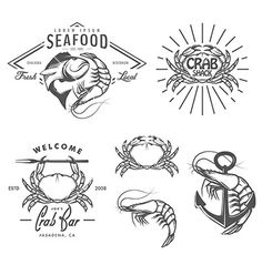 Set of vintage seafood labels and design elements vector by ivanbaranov on VectorStock®