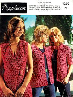 Genuine  Vintage 1970s Poppleton Ladies Lacy Waistcoats & Cardigans Crochet Pattern Biba style, Boho, Kitsch, Groovyx
