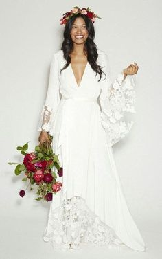 Wholesale 2015 New Arrival! Fashion BOHO Bohemian Beach Hippie Style Wedding Dresses with Long Sleeves Lace Flower Custom Plus Size, Free shipping, $141.37/Piece | DHgate Mobile #WeddingDressesBoho